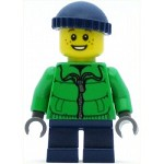 LEGO Holiday Minfigure Winter Jacket Zipper, Dark Blue Legs, Dark Blue Knit Cap, Freckles (10249)