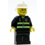 LEGO Minifigure Fire Reflective Stripes Black Legs White Fire Helmet Cheek Lines Yellow Hands