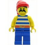 LEGO Minifigure Pirate Blue White Stripes Shirt Blue Legs Red Bandana