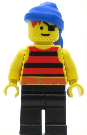 LEGO Pirates Minifigure Red Black Stripes Shirt Blue Bandana