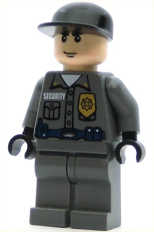 LEGO Batman Minifigure Arkham Asylum Guard Light Flesh Head Black Cap