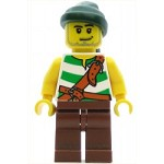 LEGO Minifigure Pirate Green White Stripes Reddish Brown Legs Dark Green Bandana Stubble