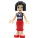 LEGO Friends Minifigure Friends Anna Red Long Skirt Dark Blue Sleeveless Blouse Top