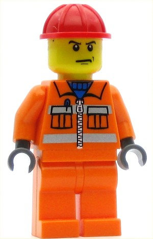 LEGO Minifigure Construction Worker Orange Zipper Safety Stripes Orange Arms Orange Legs Red Construction Helmet Scowl