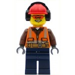 LEGO Town Minifigure Construction Worker - Orange Zipper, Safety Stripes and Belt over Brown Shirt, Dark Blue Legs, Red Construction Helmet with Headphones, Orange Sunglasses