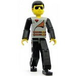 LEGO Minifigure Technic Figure Black Legs Light Gray Top with 2 Brown Belts Black Arms
