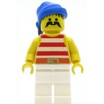 LEGO Minifigure Pirate Red White Stripes Shirt White Legs Blue Bandana