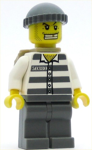 LEGO Minifigure Police Jail Prisoner 50380 Prison Stripes Dark Bluish Gray Legs Dark Bluish Gray Knit Cap Gold Tooth Backpack