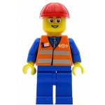 LEGO Train Minifigure Orange Vest with Safety Stripes