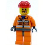 LEGO Minifigure Construction Worker Orange Zipper Safety Stripes Orange Arms Orange Legs Dark Bluish Gray Hips Red Construction Helmet