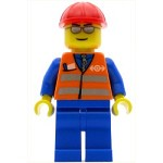 LEGO Minifigure Orange Vest with Safety Stripes Blue Legs Silver Glasses Red Construction Helmet