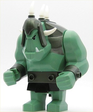 LEGO Castle Minifigure Fantasy Era Troll Sand Green with 5 White Horns
