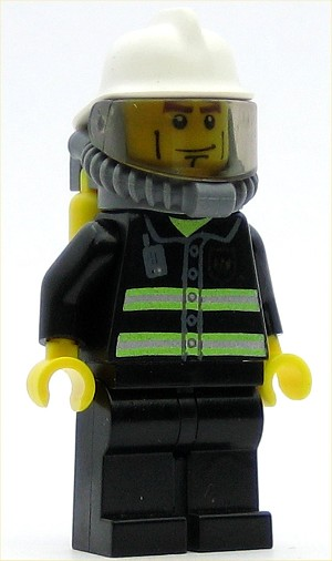 LEGO Minifigure Fire Reflective Stripes Black Legs White Fire Helmet Breathing Neck Gear with Airtanks Yellow Hands (7904-23)