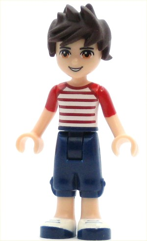LEGO Friends Minifigure Friends Noah, Dark Blue Cropped Trousers, Red and White Striped Top