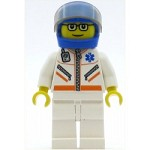 LEGO Minifigure Doctor Jacket with Zipper and EMT Star of Life White Legs Blue Helmet Tr-Blk. Visor Glasses and Brown Eyebrows (7903)