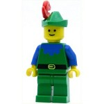 LEGO Minifigure Forestman Blue Green Hat Red 3-Feather Plume