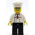 LEGO Town Minifigure Chef - White Torso with 8 Buttons, Black Legs, Glasses