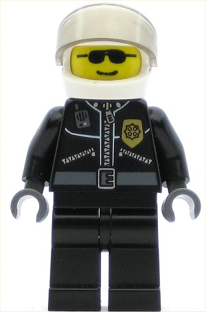 LEGO Minifigure Police City Leather Jacket with Gold Badge White Helmet Tr-Blk. Visor Black Sunglasses
