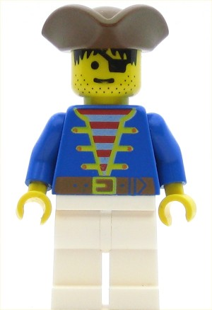 LEGO Pirates Minifigure Blue Shirt White Legs Brown Triangle Hat