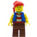 LEGO Minifigure Pirate Blue Vest Reddish Brown Legs Red Bandana (9349)