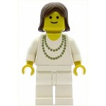 LEGO Town Minifigure Necklace Gold White Legs Brown Female Hair