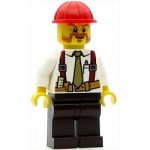 LEGO Town Minifigure Construction Foreman - Shirt with Tie and Suspenders, Dark Brown Legs, Red Construction Helmet