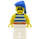 LEGO Minifigure Pirate Blue White Stripes Shirt White Legs Blue Bandana