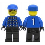 LEGO Minifigure Soccer Player Red & Blue Team Goalie with #1 on Back