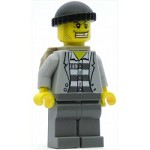 LEGO Minifigure Police Jail Prisoner Jacket over Prison Stripes Dark Bluish Gray Legs Dark Bluish Gray Knit Cap Gold Tooth Backpack