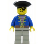 LEGO Pirates Minifigure Blue Shirt Light Gray Legs Black Triangle Hat
