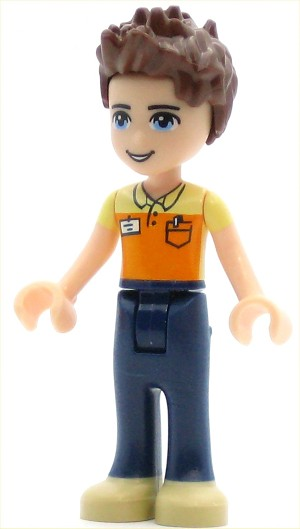 LEGO Friends Minifigure Friends Daniel, Dark Blue Trousers, Orange and Bright Light Yellow Polo Shirt