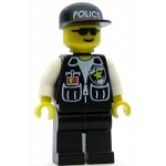 LEGO Minifigure Police Sheriff Star and 2 Pockets Black Legs White Arms Black Cap with Police Pattern Black Sunglasses