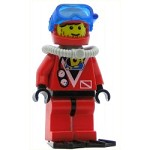 LEGO Minifigure Divers Red Diver 1 Red Legs with Black Hips Red Helmet Light Gray Scuba Tank Flippers