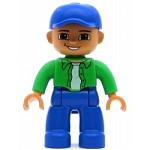 LEGO Minifigure Duplo Figure Lego Ville Male Blue Legs Green Top with White Undershirt Blue Cap