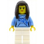 LEGO Town Minifigure Pizza Van Customer Female, Bright Light Blue Hoodie with Swirl Flower Pattern, Dark Brown Hair (60150)