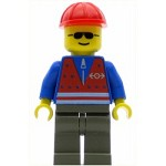 LEGO Train Minifigure Train Red Vest and Red Construction Helmet