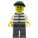 LEGO Minifigure Police Jail Prisoner 50380 Prison Stripes Dark Bluish Gray Legs Black Knit Cap Gold Tooth