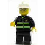 LEGO Minifigure Fire Reflective Stripes Black Legs White Fire Helmet Silver Sunglasses