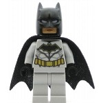 LEGO Super Heroes Minifigure Batman - Dark Flesh Face, Light Bluish Gray Suit