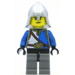 LEGO Castle Minifigure Castle - Lion Knight Blue and White with Chest Strap and Crown Belt, Helmet with Neck Protector, Angry Eyebrows and Scowl