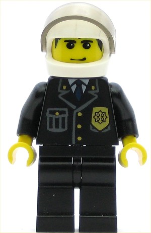 LEGO Minifigure Police City Suit with Blue Tie and Badge Black Legs White Helmet Tr-Blk. Visor Smile