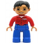 LEGO Duplo Minifigure Male Blue Legs Red Shirt with Pockets