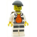 LEGO Town Minifigure Police - Jail Prisoner 18675, Open Shirt, Striped Legs, Gray Knit Cap, Backpack