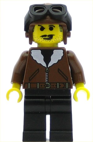 LEGO Adventurers Minifigure Jacket Brown Bomber Black Legs (Harry Cane)