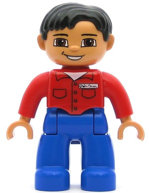 LEGO Minifigure Duplo Figure Lego Ville Male Blue Legs Red Shirt with Pockets and Nametag Black Hair Brown Eyes Flesh Hands
