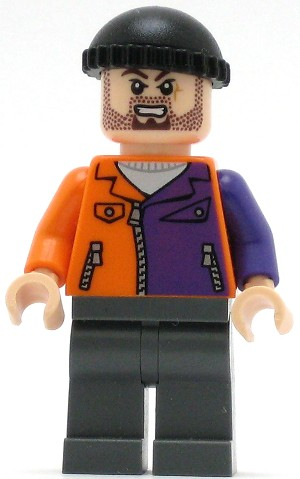 LEGO Super Heroes Minifigure Two-Face's Henchman Orange and Purple with Beard
