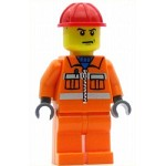 LEGO Town Minifigure Construction Worker Orange Zipper Safety Stripes