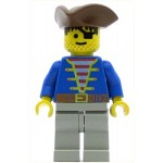 LEGO Pirates Minifigure Pirate Blue Shirt, Brown Triangle Hat