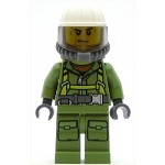 LEGO Town Minifigure Volcano Explorer - Male Worker, Suit with Harness, Construction Helmet, Breathing Neck Gear with Yellow Airtanks, Trans-Black Visor, Sweat Drops(60120)