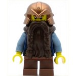 LEGO Castle Minifigure Fantasy Era Dwarf Dark Brown Beard Copper Helmet